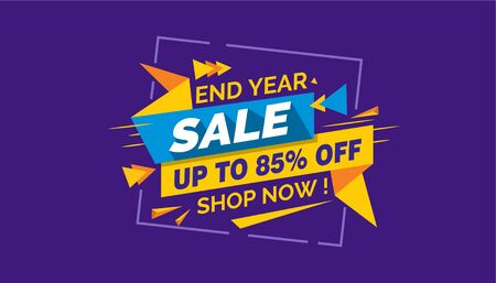 End Year Sale, Colorfull Sale Banner Label