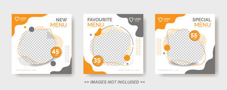 Food Menu Banner Template, Social Media Post Template with gray and orange color