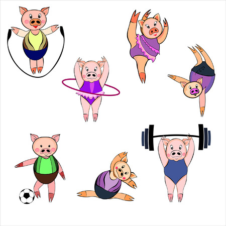 Set of sporty cartoon pigs on white background.