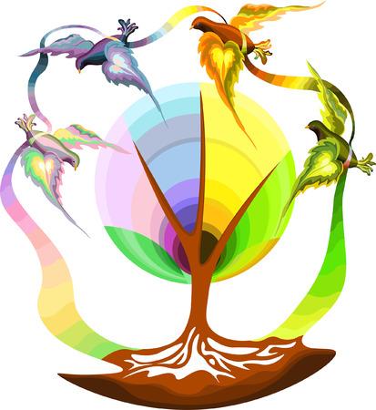 Flying Birds for seasons.Vector Illustration Banque d'images - 112158395