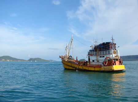 Thai old traditional shipping boat photo