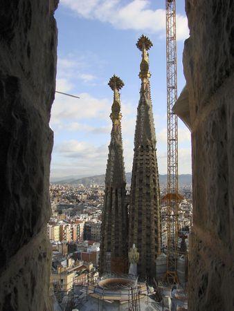 Katedra La Sagrada Familia Gaudi firmy w Barcelonie. Widok od wewnÄ…trz. Zdjęcie Seryjne - 4449290