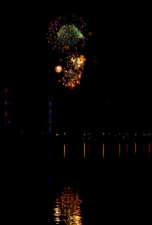 fireworks with reflection photo