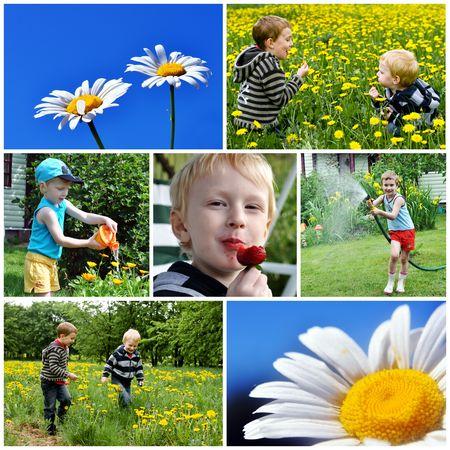 子供たちと夏をコラージュします。