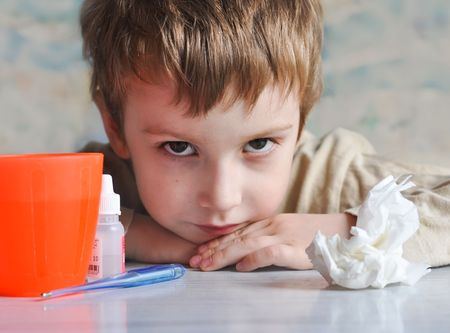 young boy having flu photo