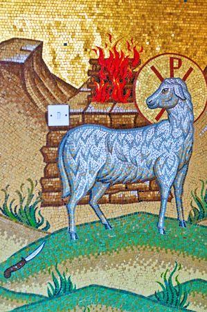 sacrifices: Biblical mosaic scene: sacrifice of Lamb of God. Kykkos monastery, Cyprus. Stock Photo