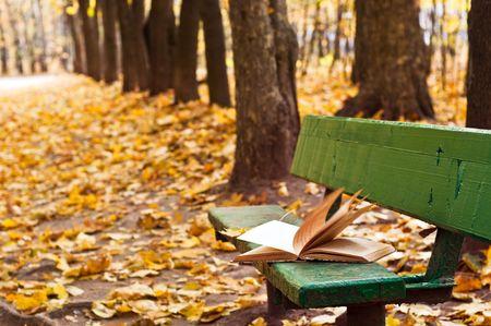 秋の公園でベンチの昔の本 写真素材