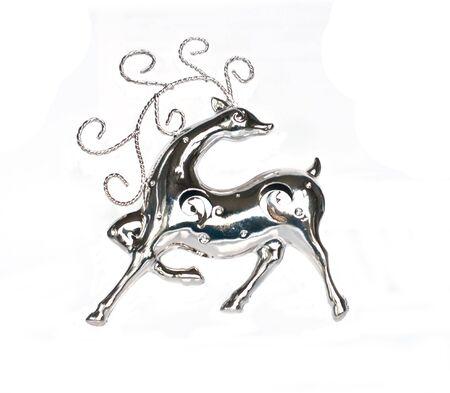 silver reindeer on white Stock Photo - 5786038