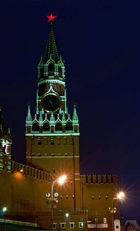 Spasskaya tower of Moscow Kremlin at night photo
