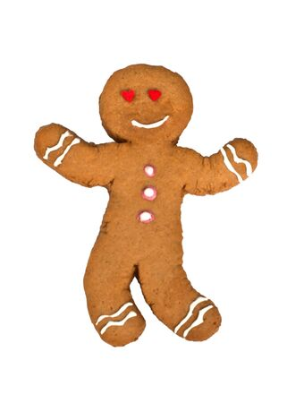 happy gingerbread man, isolated on white photo