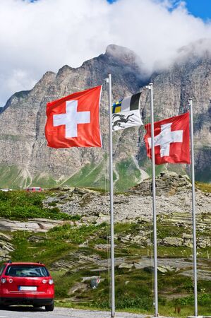 bernardino: Swiss flags on San Bernardino pass, Switzerland