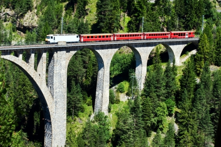 swiss alps: swiss train on very high bridge near Wiesen