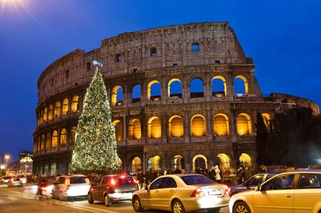 Christmas tree at Coliseum in the night, Rome, Italy