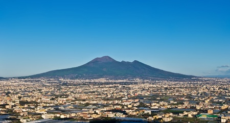 panorama of volcano Vesuvio and Pompei in the morning