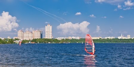 windsurfing in the city on Moscow river, Russia photo