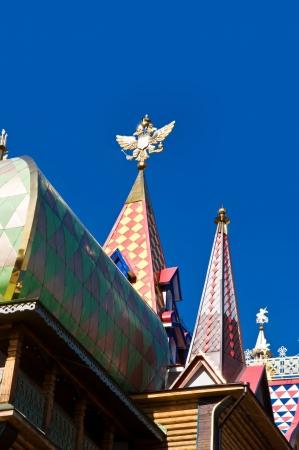 double headed: Izmailovsky Kremlin, Moscow, Russia Double-headed eagle - coat of arms of Russia