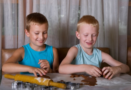 two boys baking gingerbread cookies photo
