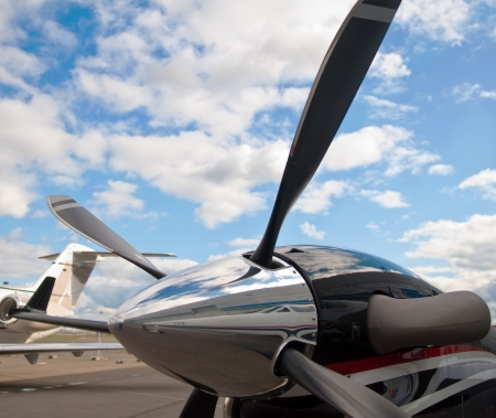 fuselage: engine of business jet with propeller blade