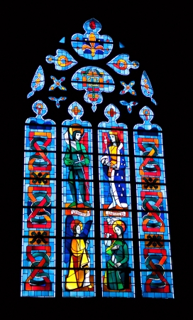 atilde: stained glass with image of Jeanne dArc and Charles VII in cathedral of Foug&amp,Atilde,&amp,uml,res, France Editorial