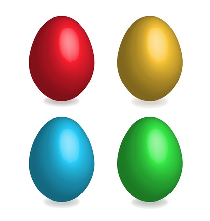 Four easter eggs on white background. 3D effect, shadows with blend option. Vector