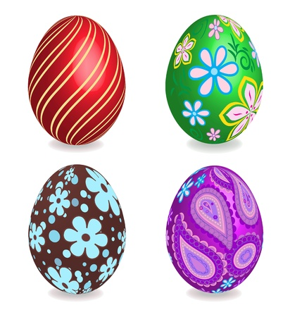 Four beautiful painted easter eggs on white background. 3D effect, shadows with blends. Vector