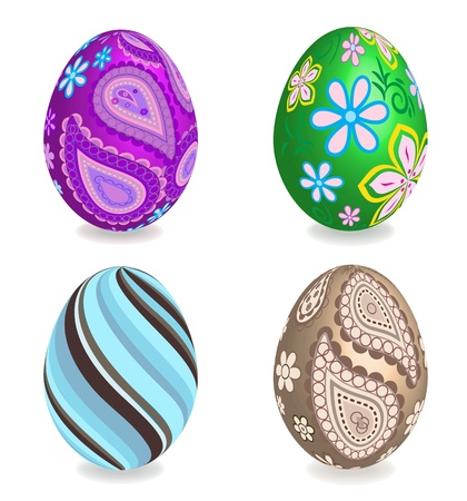 Four beautiful painted easter eggs on white background. 3D effect, shadows with blend option. Vector