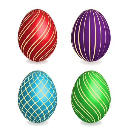 Four beautiful painted striped easter eggs on white background. 3D effect, shadows with blend option. Vector