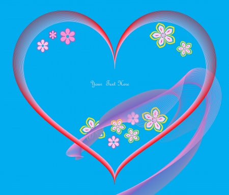 Stylized heart and flowers in pink and blue colors. Place for text. Vector