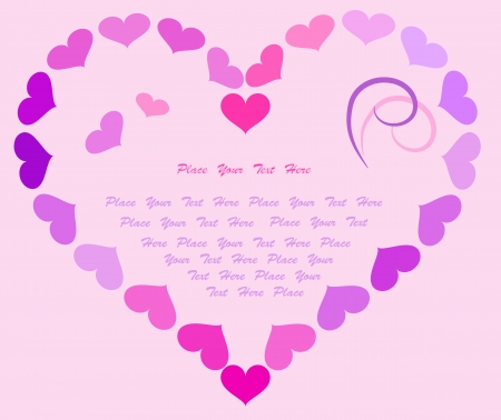 Stylized hearts in lilac and violet colors. Place for text. Vector