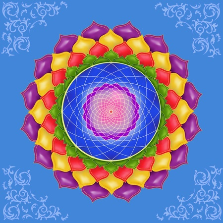 ayurveda: Indian abstract ornament, colorful mandala