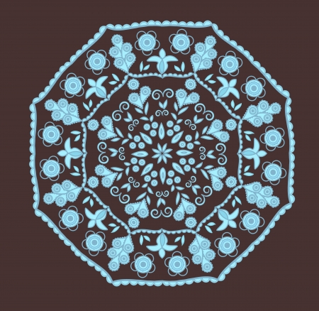 aquamarin: Abstract design in indian style with paisleys in brown and blue colors Illustration