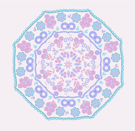 aquamarin: Abstract design in indian mandala style with paisleys in pink and blue colors