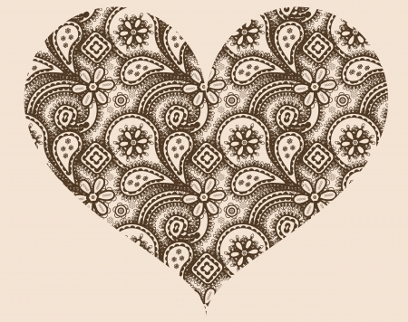 Stylized heart with abstract ornament of paisleys Vector
