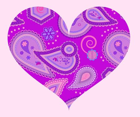 Stylized heart with abstract ornament of paisleys in lilac and violet colors Vector