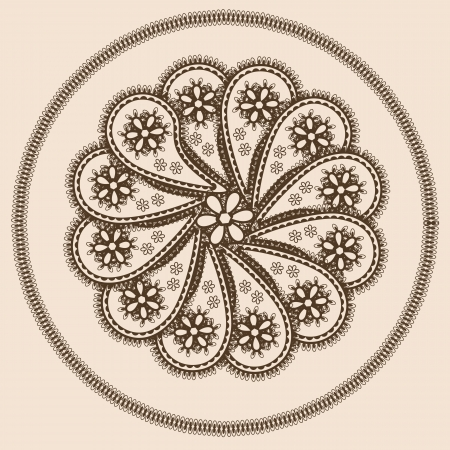 Abstract design in indian style with paisleys in brown and beige colors Vector