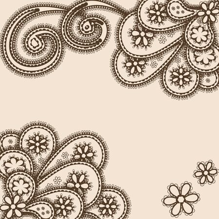 Abstract ornament with paisleys mehndi style, space for text Vector
