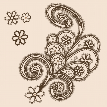 Abstract ornament with paisleys mehndi style Vector