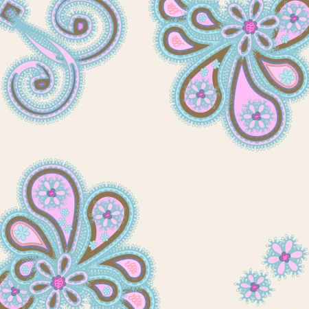 Abstract ornament with paisleys, space for text Vector
