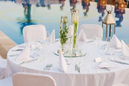 Romantische bruiloft receptie