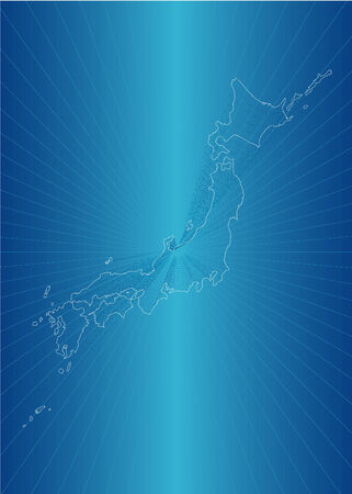 Map of Japan of blue illustration Vector