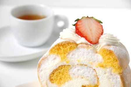 Image of cake with tea photo