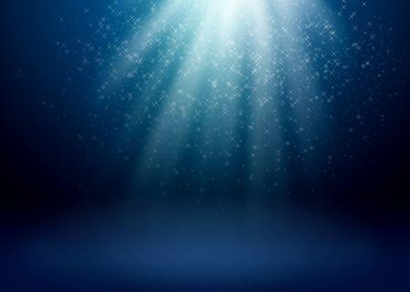 underwater scene on a dark blue background