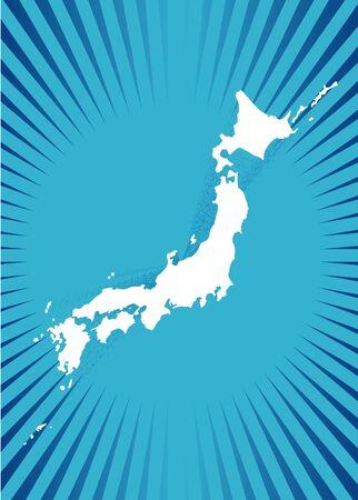 Map of Japan of blue illustration