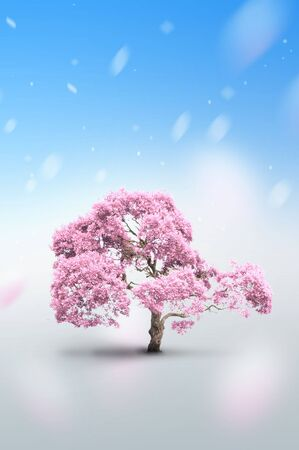 to exist: Tree of pink color - Please look at my portfolio other kinds exist Stock Photo