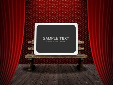 Bench and notification version on stage Stock Photo - 6995237
