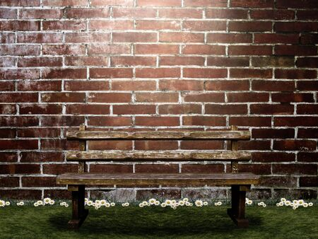 Bench and synthetic background image photo