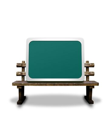 synthesis: CG synthesis background of blackboard and bench