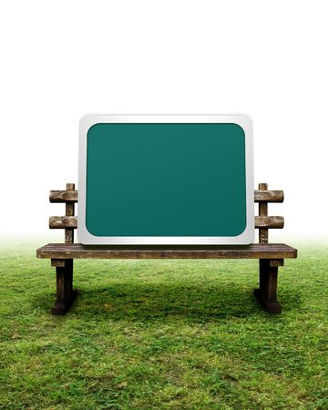 CG synthesis background of blackboard and bench Stock Photo - 8162572