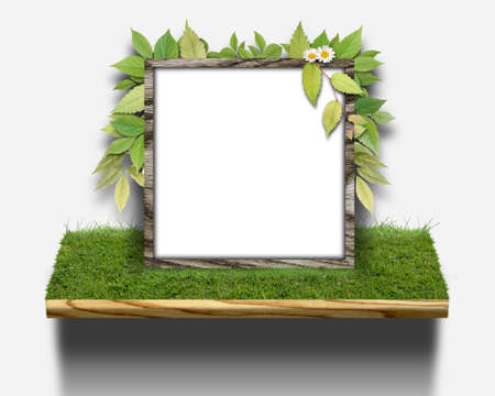 CG background of leaf and frame Stock Photo - 8638667