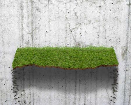 芝生の棚の CG 合成 写真素材